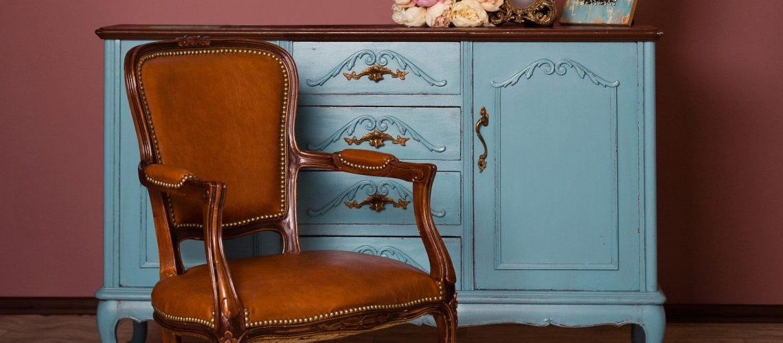 Retro,Brown,Leather,Armchair,Near,Blue,Dresser,,Tender,Bouquet,And